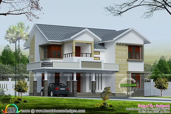 4 Bedroom 2400 Sq Ft Sloping Roof House House Roof