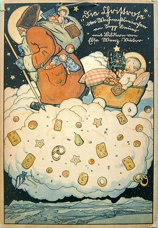 Vintage Santa & Cradle Baby Advent Calendar
