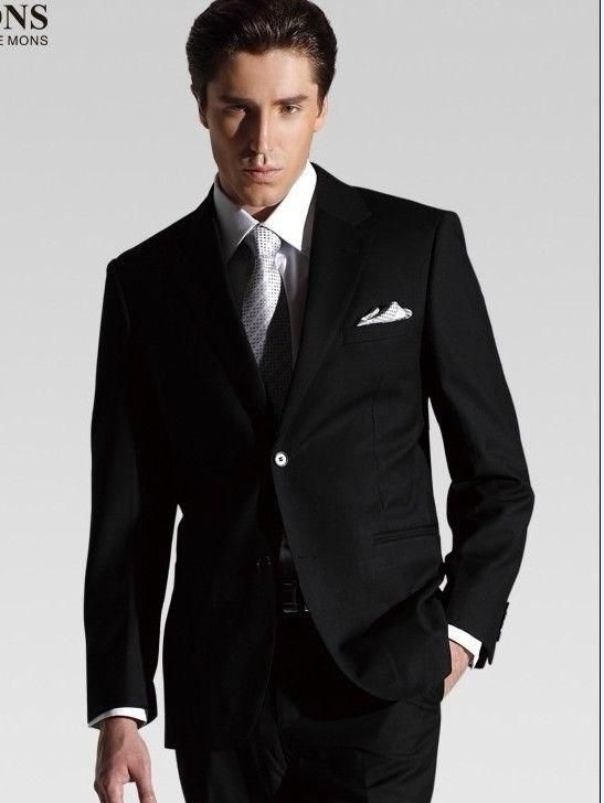 2014 Business mens formal suit black Groom Tuxedos made in china custom made size
