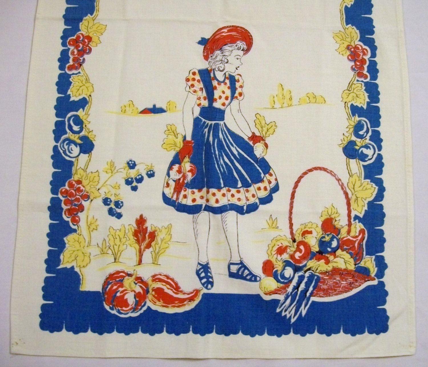 vintage tea towel dish towel gardening 1940s linen table