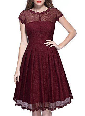 bddcaa455a Vestido encaje vintage rojo manga corta