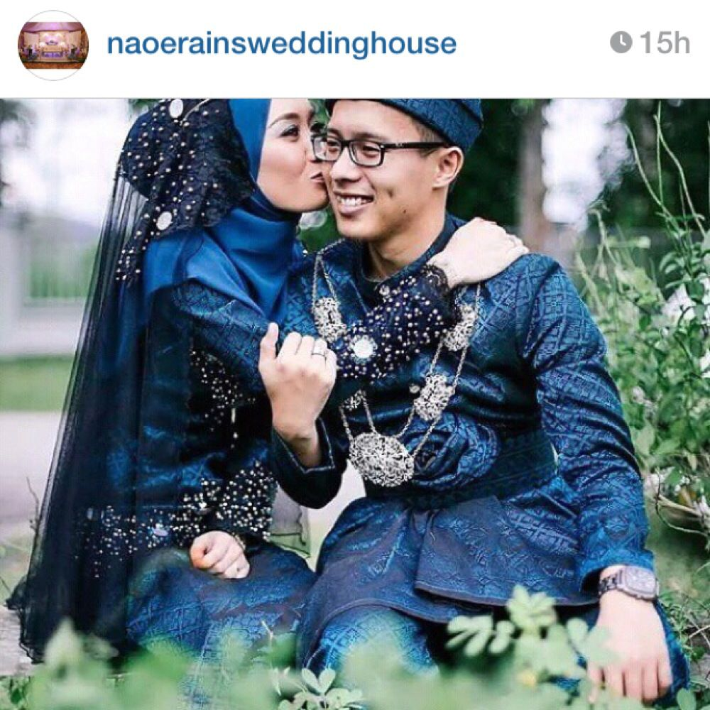 Dark blue songket  Dark blue wedding, Blue wedding dresses