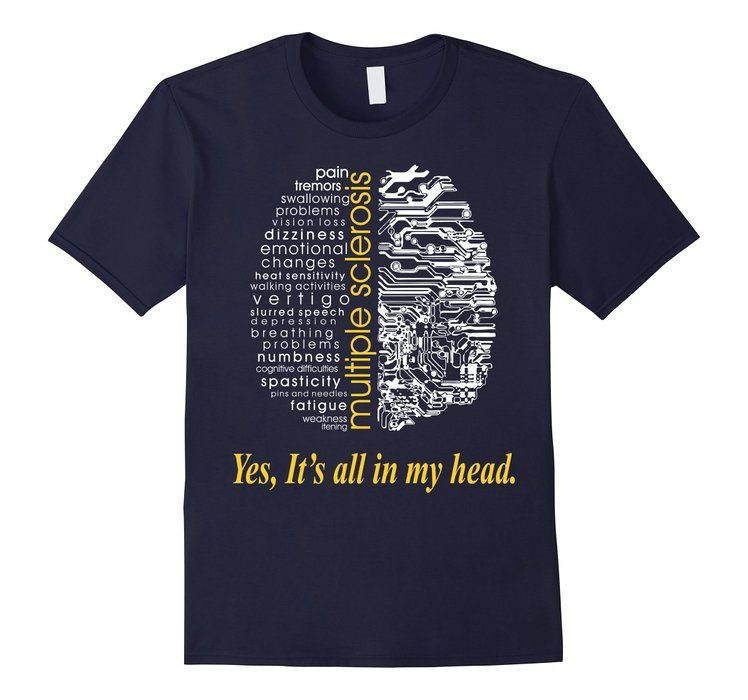 Multiple Sclerosis Yes Its All In My Head TShirt - Male Medium - Navy