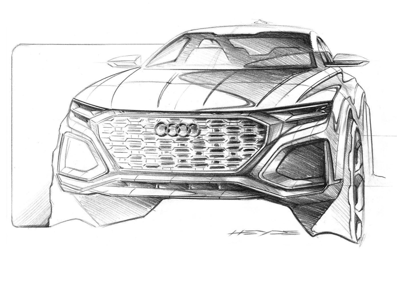 Audi Q8 Sport Concept Front Quarter Sketch