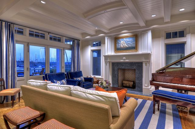 Blue white and beige living room herlong associates architecture interiors