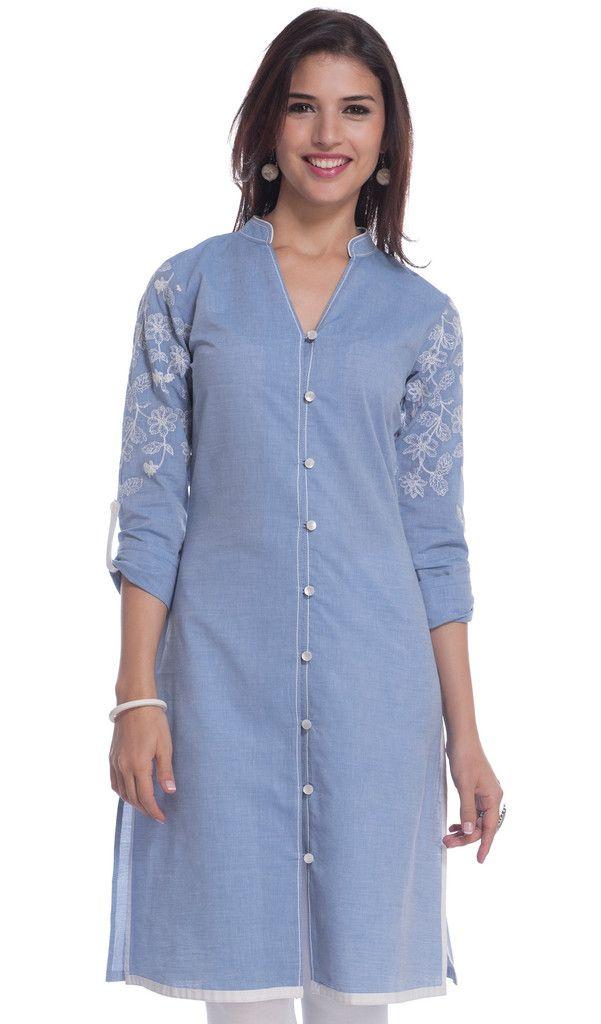 Women Button Down Denim Blue Kurta Kurti Long Sleeves Casual Tunic Blouse
