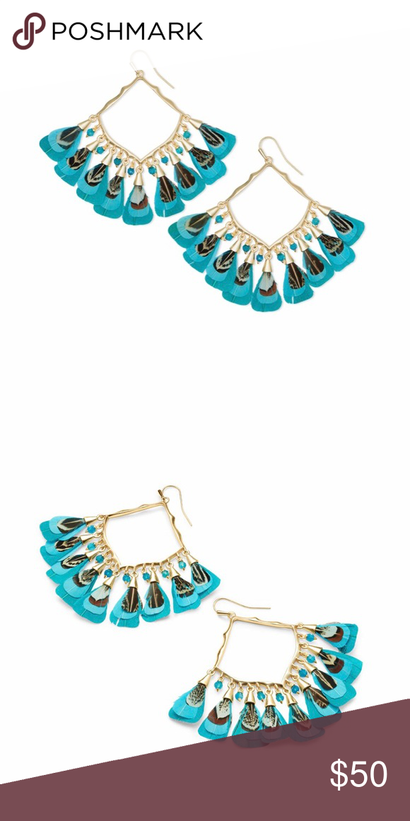 95b8cfe4b Kendra Scott Raven Gold Drop Earrings Raven Gold Drop earrings in teal  feather bead mix Only worn once and in amazing condition Kendra Scott  Jewelry ...