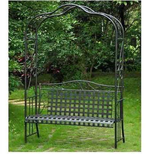 Wrought Iron Arbor Bench Trellis Garden Patio Outdoor Lawn
