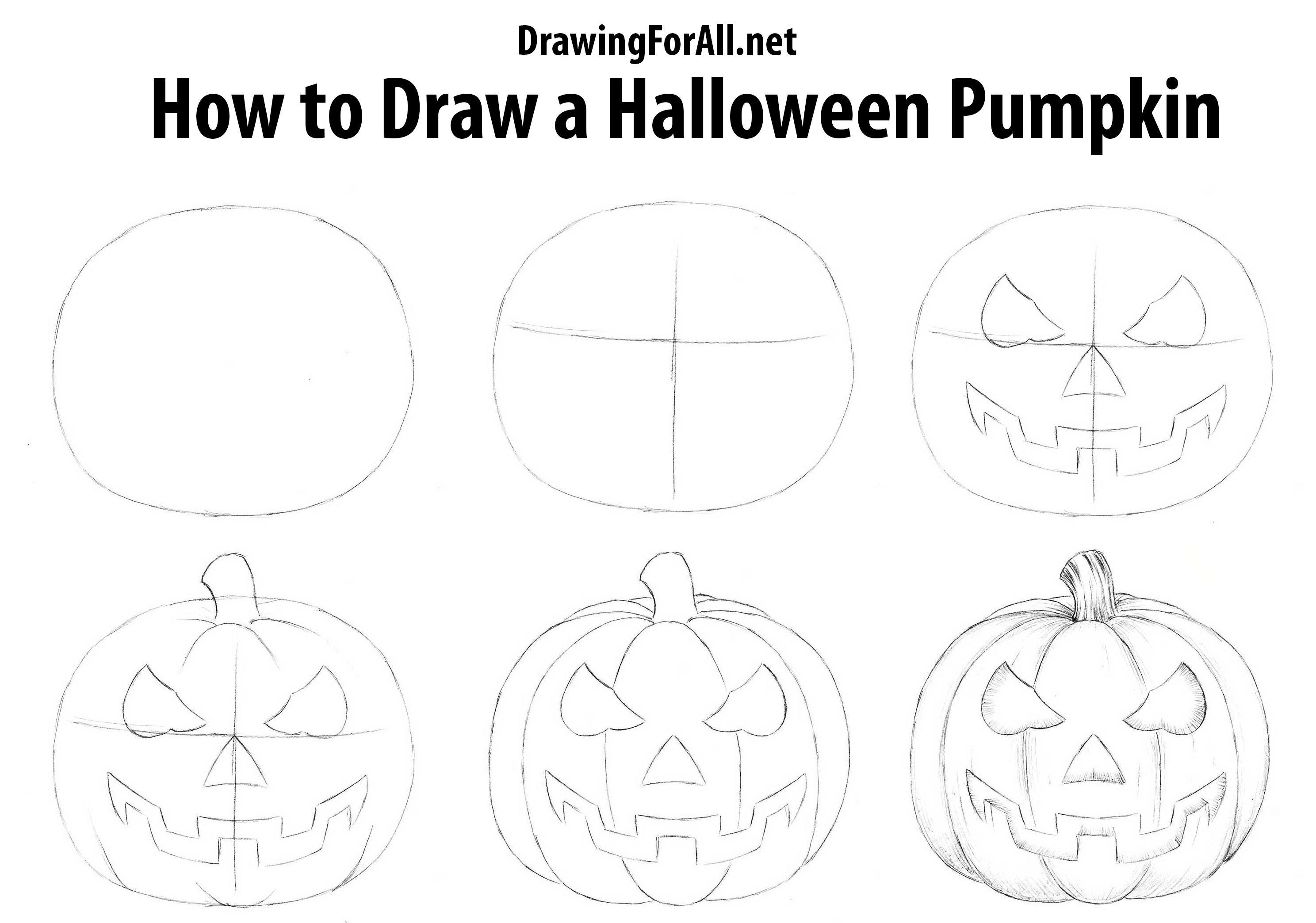 How To Draw A Halloween Pumpkin Pumpkin Drawing Halloween