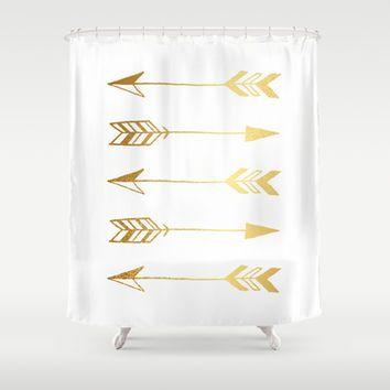 Faux Gold Foil Arrows Shower Curtain By Jaclyn Rose Design