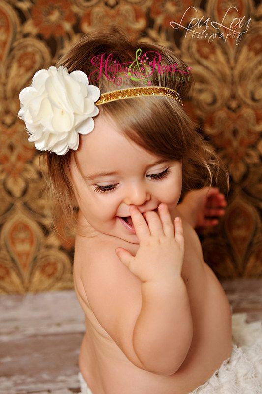 Ivory and Gold Headband.Baby Girl Headbands..Baby Headbands.Christening  Headband..Newborn Headbands..Baby Bow Headband.15% off Ur order 2a0a7701b60