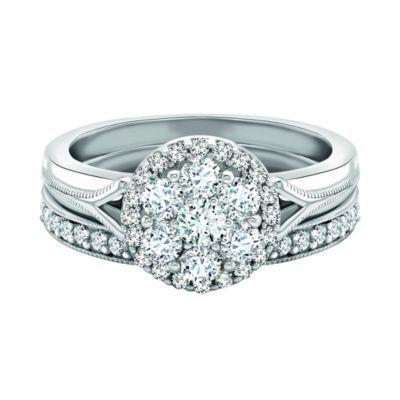 9ct White Gold 75 Pt Diamond Bridal Set H Samuel The Jeweller Me