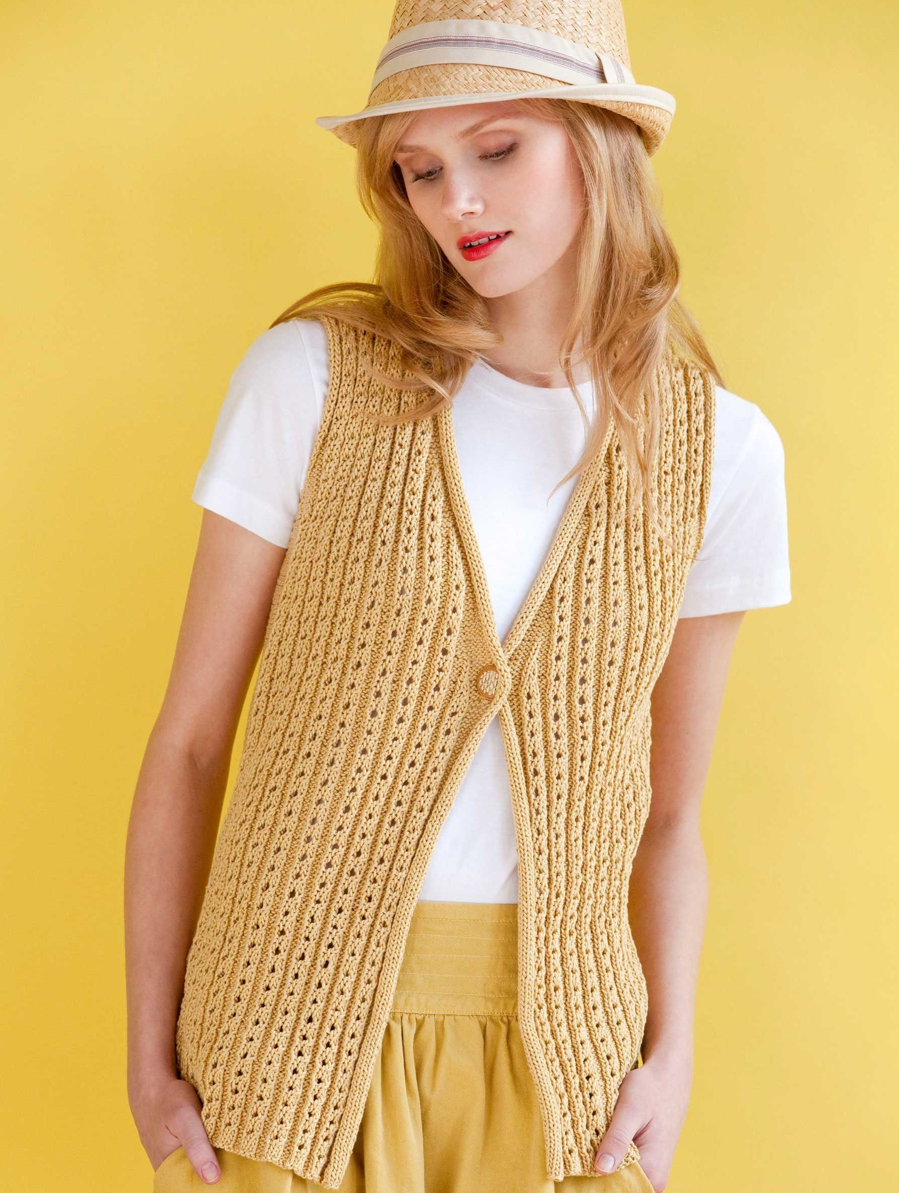 Gold Digger Vest in Tahki Yarns Cotton Classic. | Crochet & Knitting ...