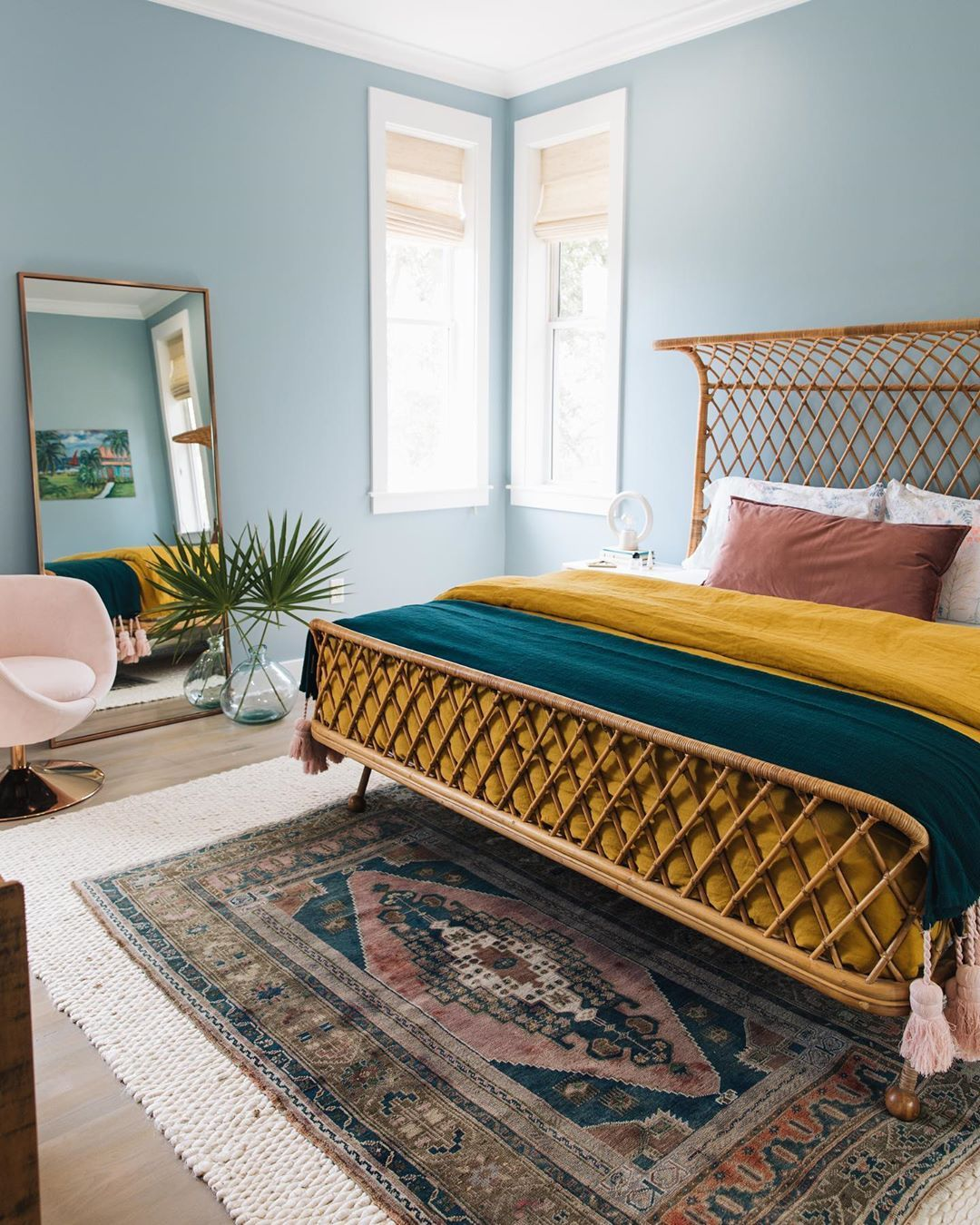 Love The Unique Rattan Bed Frame And Colorful Home Decor In This