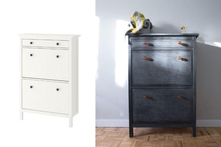 Your Favorite Shoe Cabinet In A Classy Black Texture How To In 2020 Ikea Hackers Ikea Ikea Hemnes Shoe Cabinet