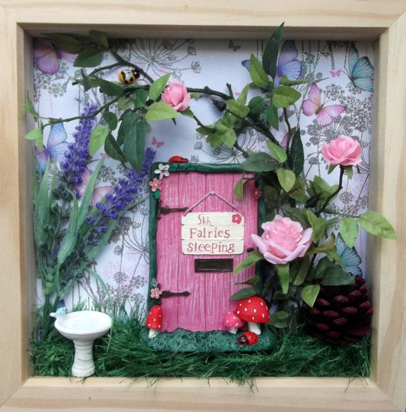 Fairy door scene box frame fairy garden wall art by for Fairy door for wall
