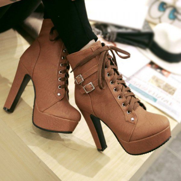 Stylish Buckles and Solid Color Design Women's High Heel Boots ...