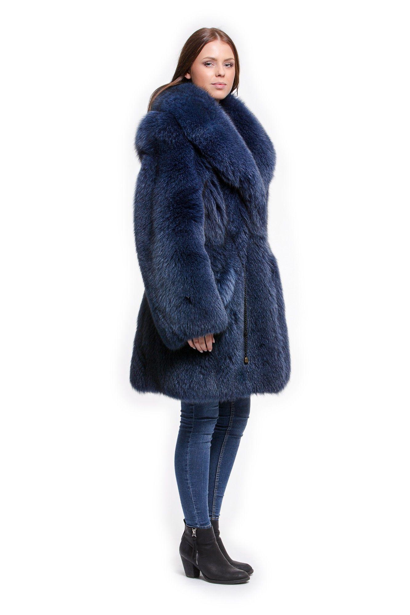 Felljacke Blaufuchs Jacke in blau schöne weiche Pelzjacke kaufen ...