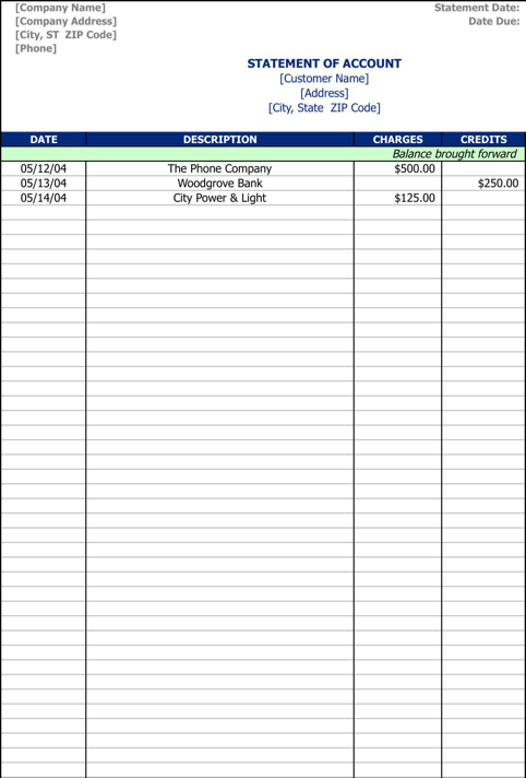 Statement Of Account Template Ideas