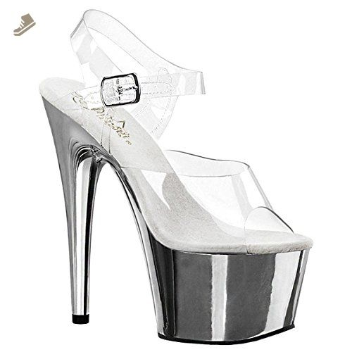 e750fa3b54f Womens Sexy Shoes Stiletto Heels Platform Slide Clear Ankle Strap 6 1 2 Inch  Size  10 Colors  Chrome - Summitfashions pumps for women ( Amazon  Partner-Link)
