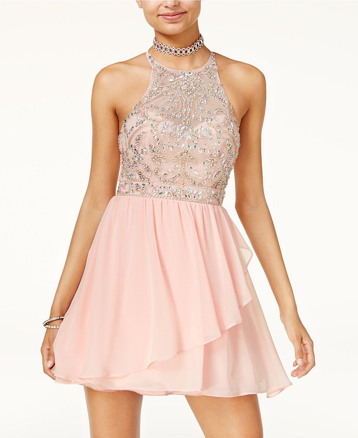 a8bed1229 B Darlin Juniors' Embellished Fit & Flare Dress - Juniors Dresses - Macy's