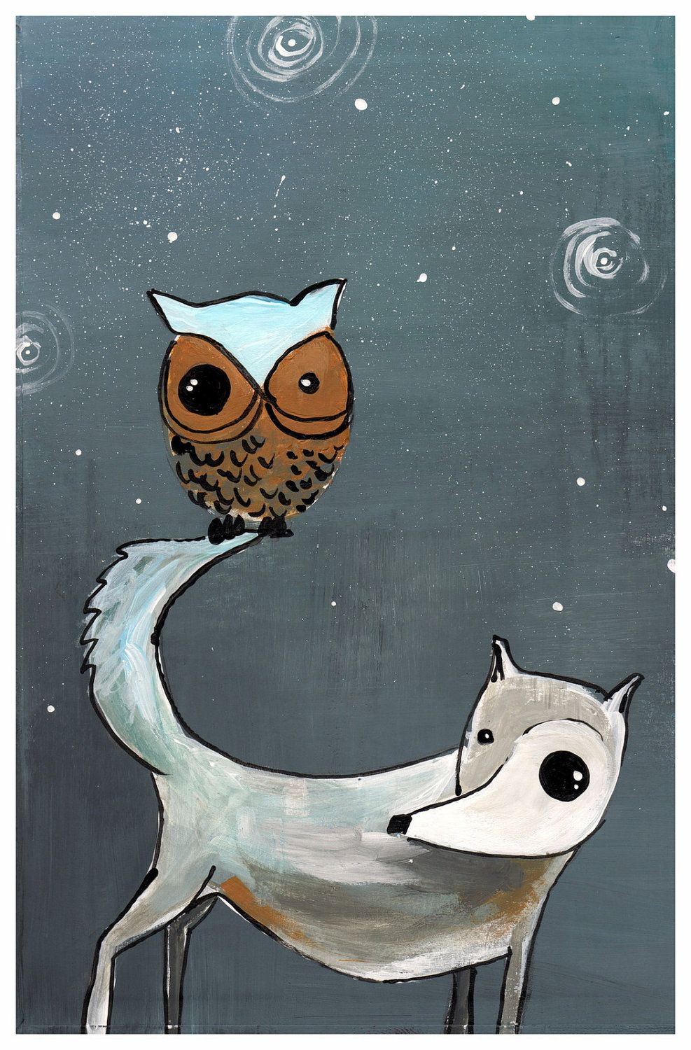 wolf and owl GIant <3 poster print  11x17 poster print -gray and white wolf with mustard yellow - deep yellow owl on his tail. $20.00, via Etsy.