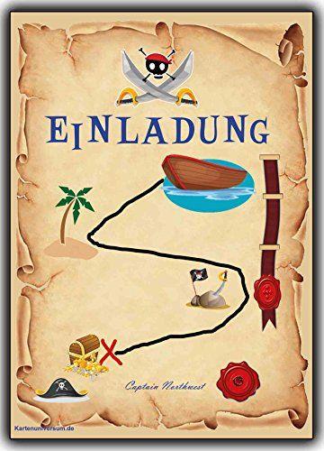 Kindergeburtstag Pirat Einladungskarten Schatzsuche Piratenkarten  Schatzkarte   10 Stück