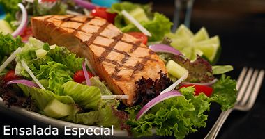 Ensalada Especial-  Mixed field greens with grape tomatoes, jicama, cucumbers, red onions and red cabbage. Served with our citrus vinaigrette dressing. Portobello Mushroom Salmon #mexican #restaurants