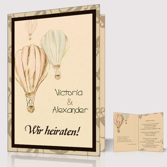 11 einladung hochzeit ballon heissluftballon packpapier vintage guenstig karte luftballons. Black Bedroom Furniture Sets. Home Design Ideas