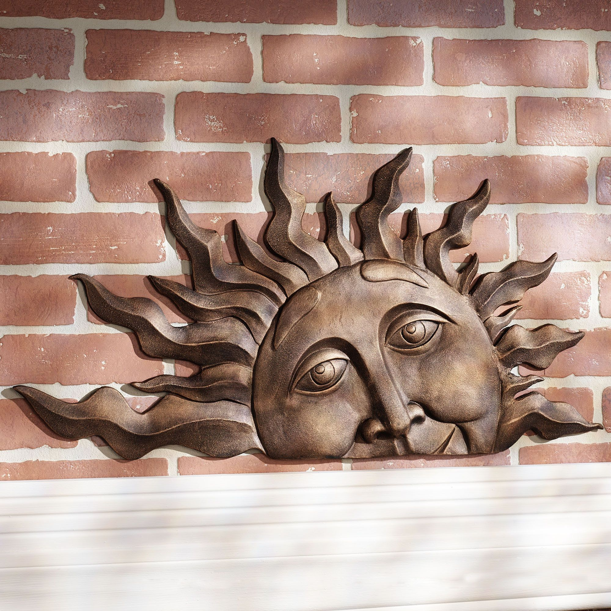 Wall Decor For Outdoor : Half sun face indoor outdoor metal wall plaque art