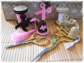 Labores en mano: Bobina,dedal y tijera a crochet...