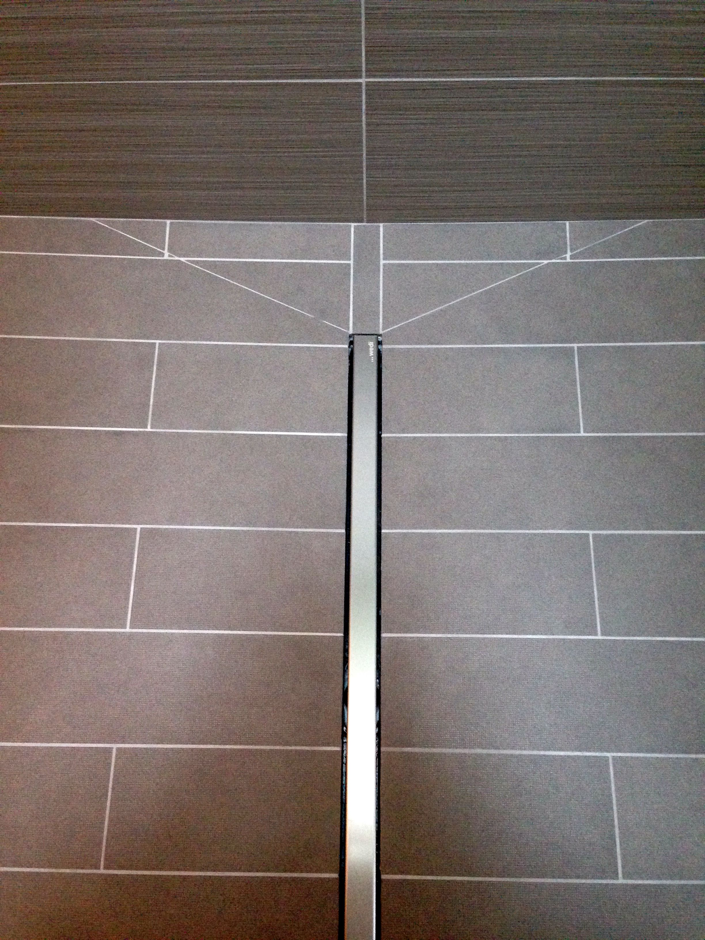 Tile Coursing Maintained Through Side Slope Of Linear Drain Linear Drain Drain Tile Tile Work