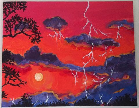 Orlando, Paint with Colors & Bottles on 10/24    Or, request this painting when you host a private event!  $25    #orlando #thingstodo #paint #colorsandbottles #beer #wine #lightning #sunset