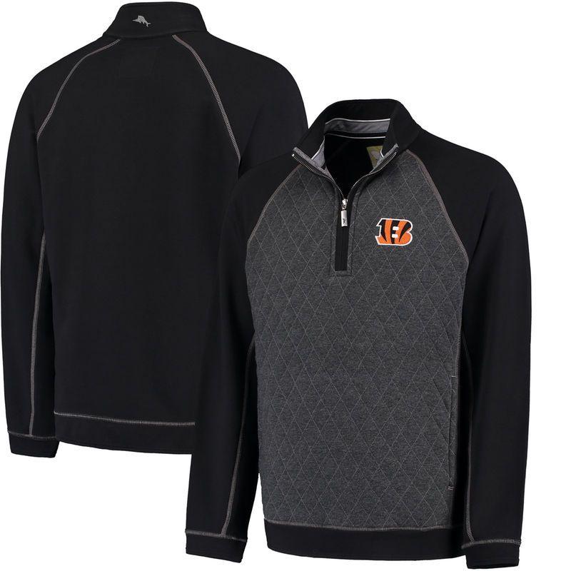 Cincinnati Bengals Tommy Bahama Gridiron Half-Zip Sweater - Black