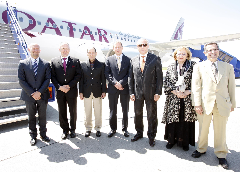At The Steps Of Qatar Airways Inaugural Flight At Zagreb Airport Qatar Airways Qatar Booking Flights