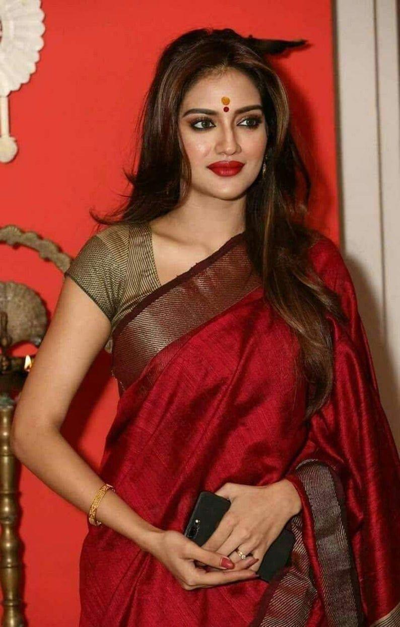 Indian saree,wedding saree,designer saree,traditional saree,sari,saree dress Red pure linen with digital print saree and blouse for women