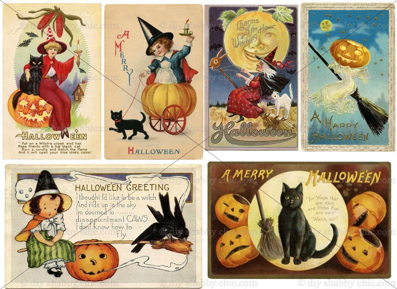 Furniture Decal Image Transfer Vintage Shabby Chic Halloween Witch Ghost Cat Diy