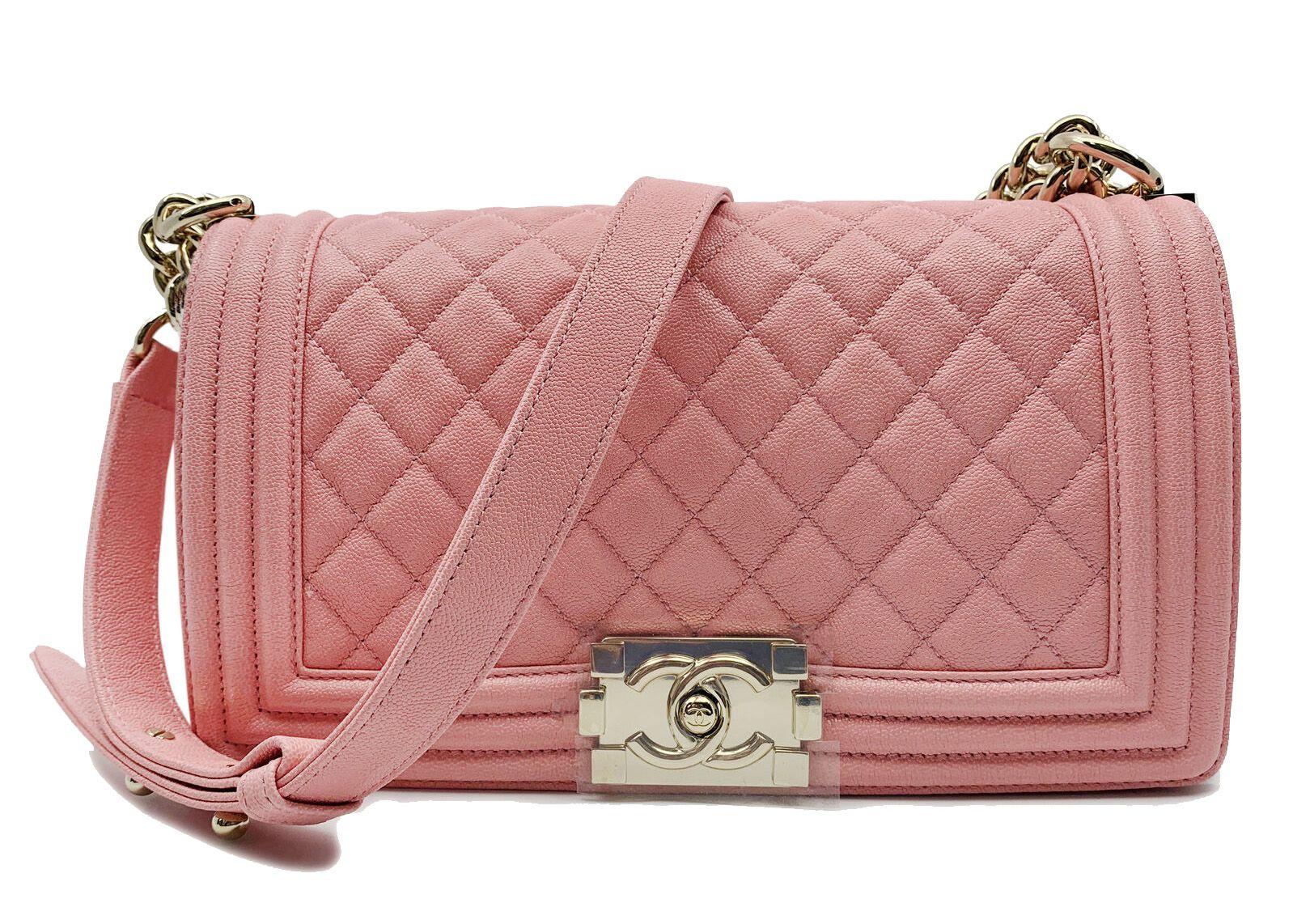Chanel Boy Quilted Caviar Gold Tone Medium Pink Chanel Bags Chanel Boy Quilted Chanel Handbag Boy Chanel Boy Bag