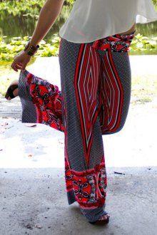 Wide Leg Geometric Print Pants