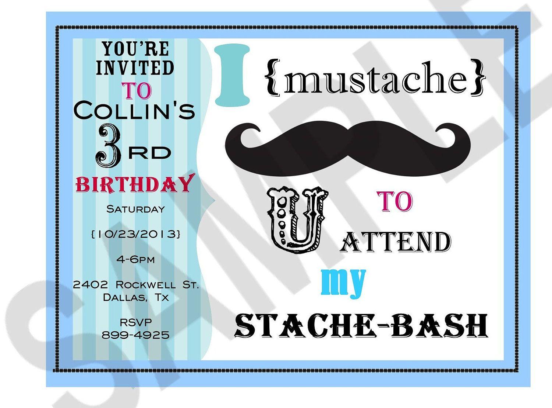 Mustache Birthday Party invitation. $12.00, via Etsy.   [jaxson]+{ ...