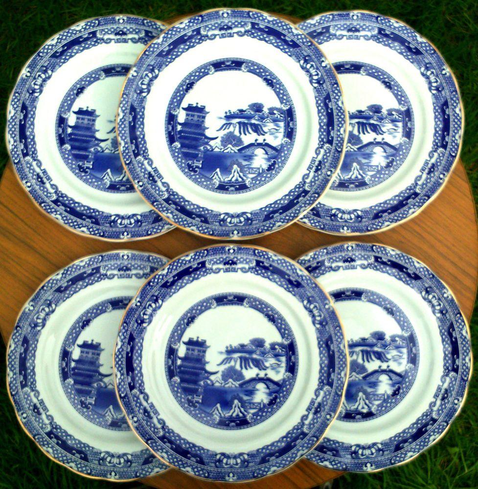 6 x Ringtons Ltd~Wade~England~Blue Willow Pattern~Dinner Plates~ & 6 x Ringtons Ltd~Wade~England~Blue Willow Pattern~Dinner Plates~10~1 ...