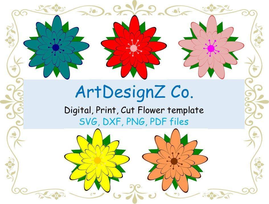 3D DXF and SVG flower templates, vee, cricut, felt, flowers, bouquet, wreath, petals, cricut, forever, design, border, petal, cut file