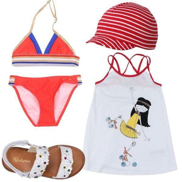 ae3da4156274 Look bambina per il mare: costume due pezzi, rosso, vestitino bianco con  spalline