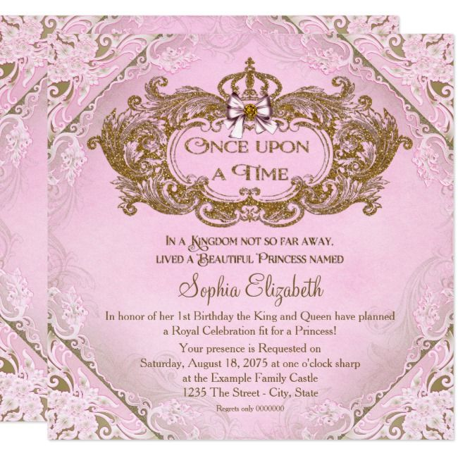 Once Upon A Time Princess 1st Birthday Invitation Zazzle