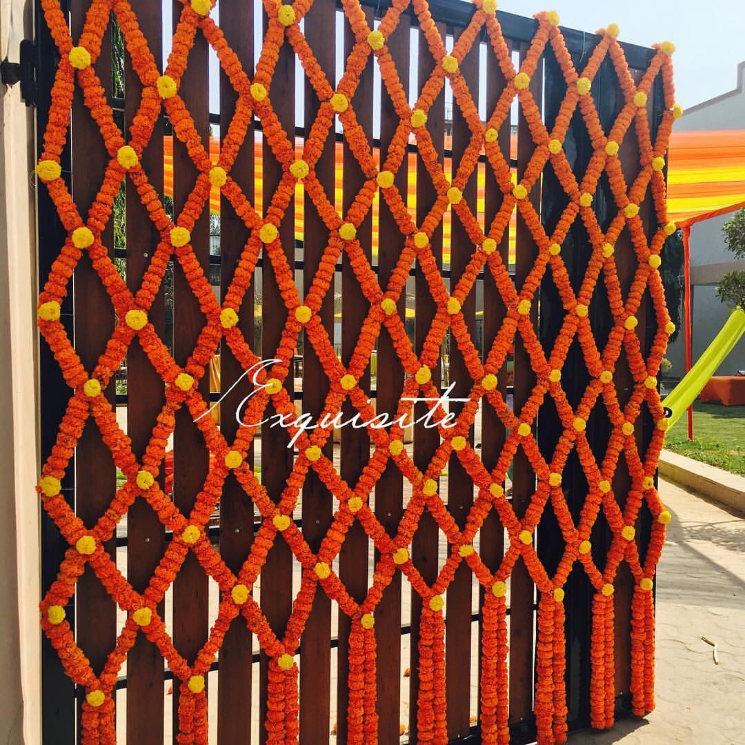 Wedding gate and stage decoration  Marigold decoration for gate Indian wedding decor  Marriage