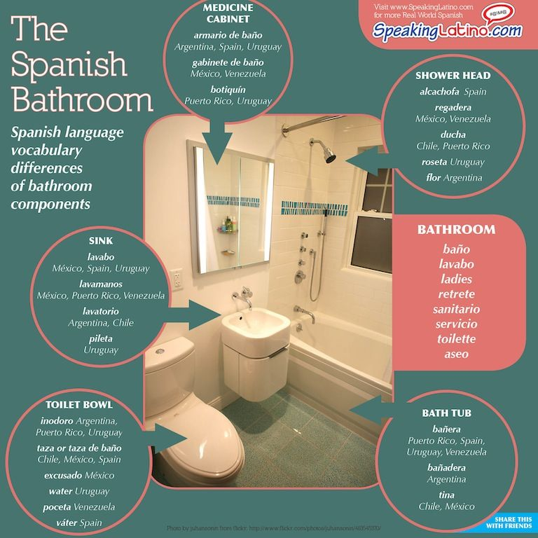 Spanish Words For Bathroom And Bathroom Components Infographic