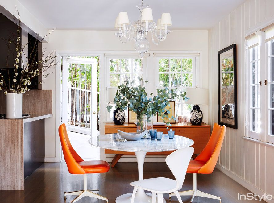 Go Inside Michelle Monaghan's Colorful Lahome  The Breakfast Awesome Orange Dining Room Table Decorating Design
