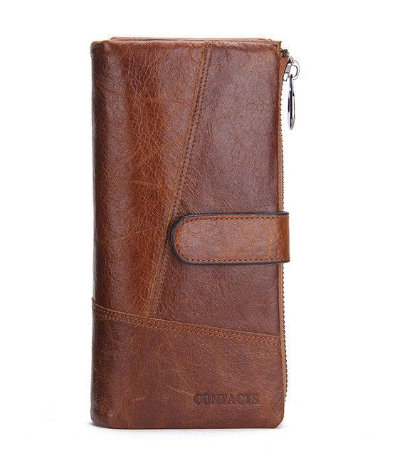 New Fashion Genuine Leather Wallets Long Design Phone Purse With Zipper and Hasp Wallets for Coin bag & Card Holder