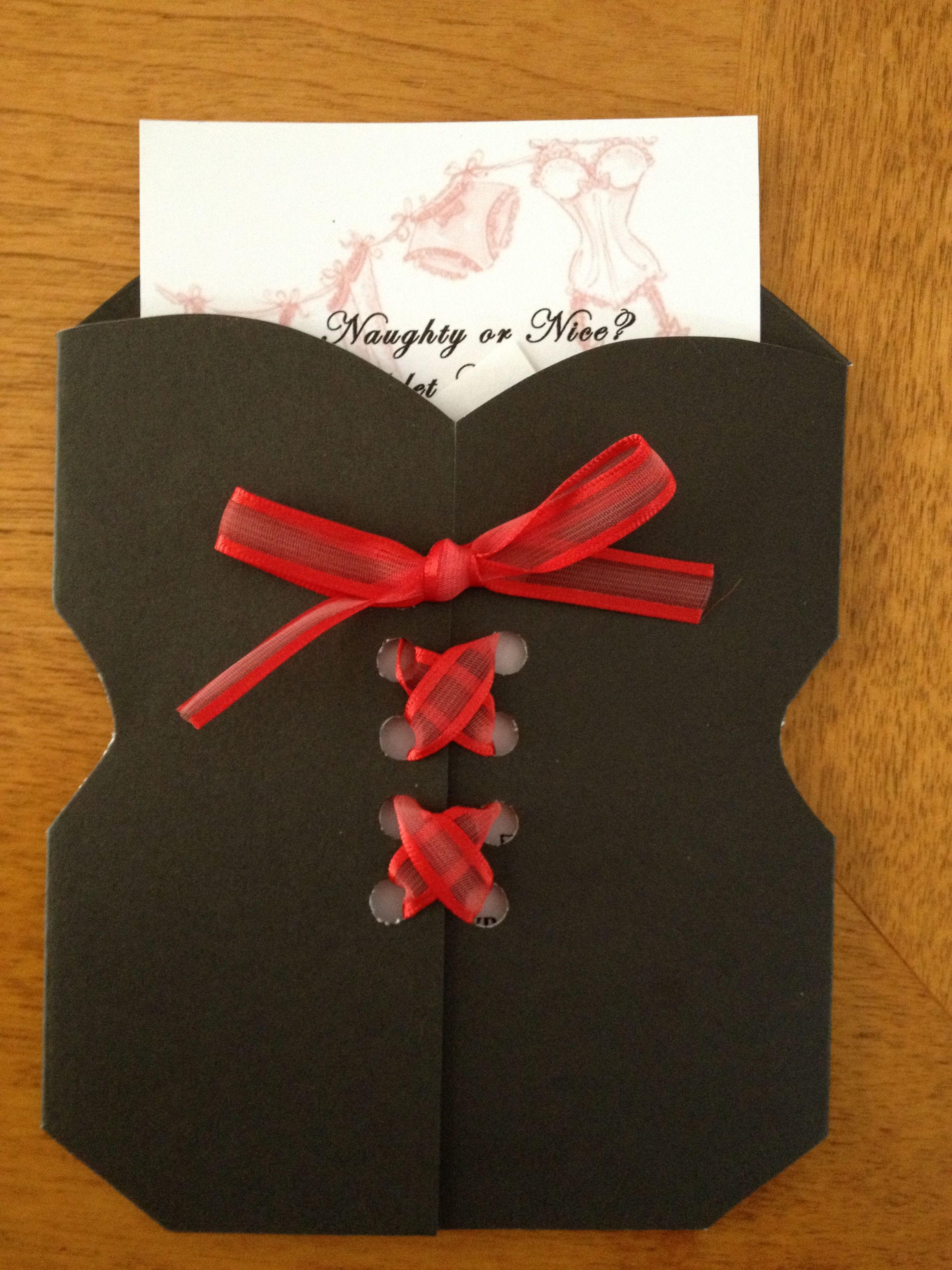DIY lingerie shower invitations... Would be able to put sizing info ...