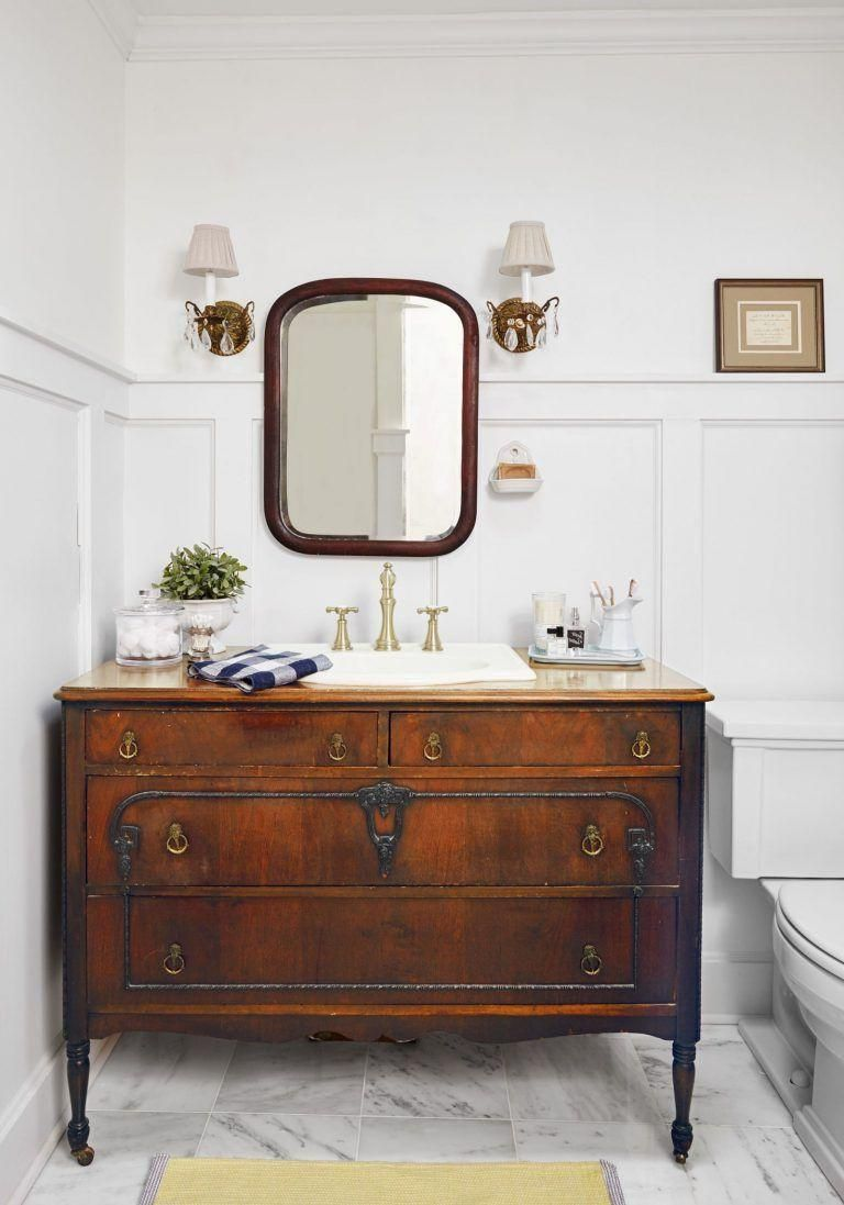 This Is My Latest Bath Remodel I Repurposed An Old Dresser 275 I Found On Craigslist For A Vanity P Tile Bathroom Cottage Bathroom Menards Bathroom Vanity